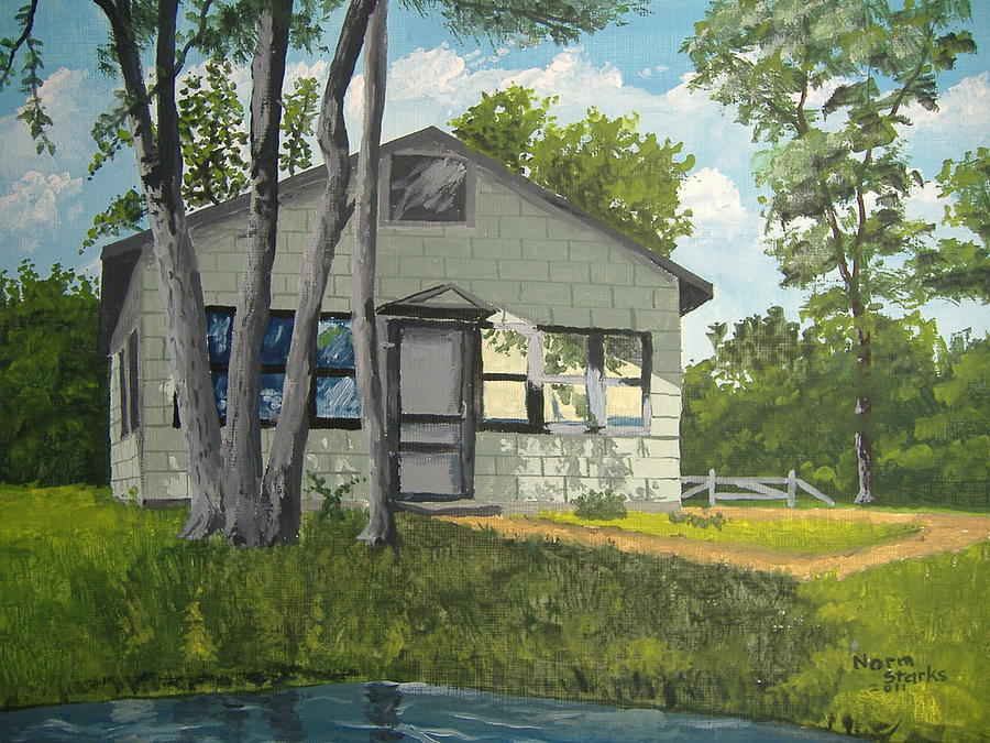 Cabin Up North Painting By Norm Starks