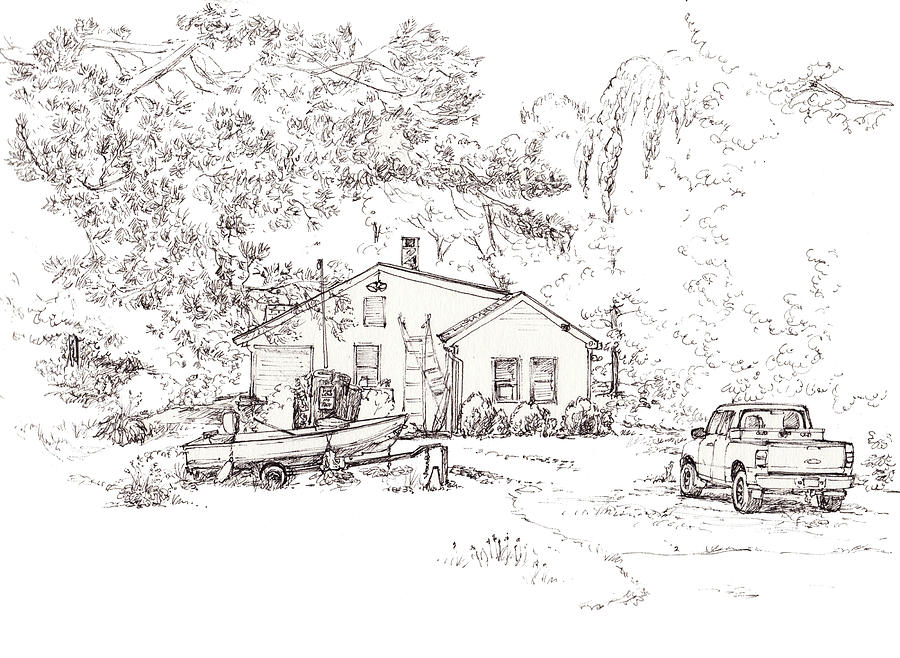Cabin With Truck And Boat Drawing