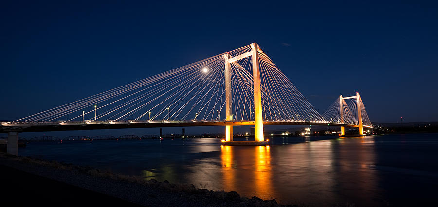 Cable Bridge At Night Photograph  - Cable Bridge At Night Fine Art Print
