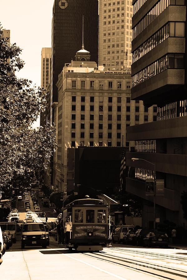 San Francisco Photograph - Cablecar On San Francisco California Street . Sepia . 7d7176 by Wingsdomain Art and Photography