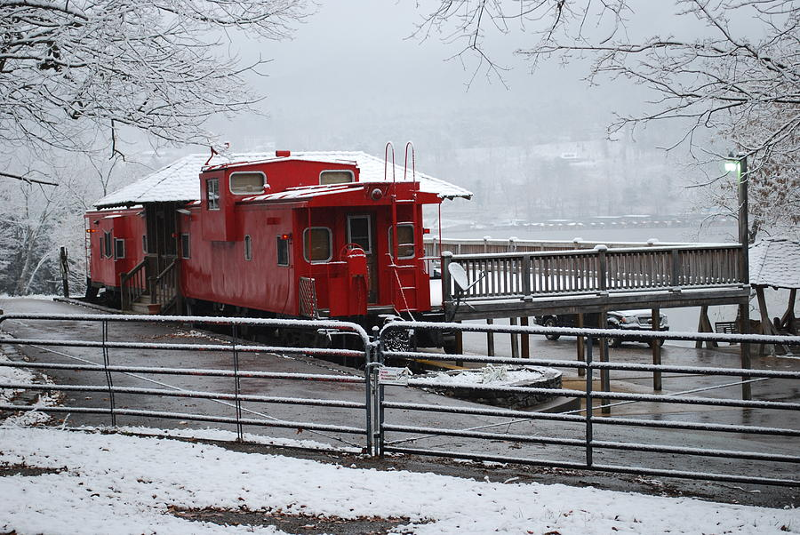 Caboose In Snow Photograph