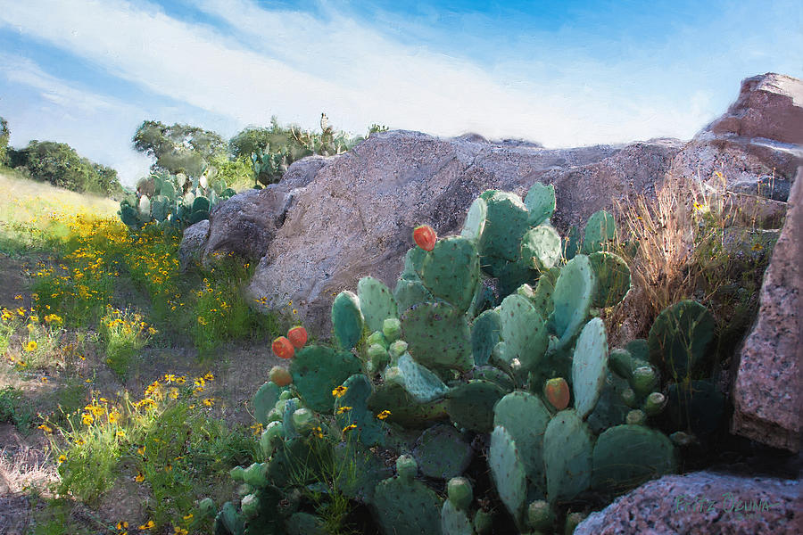 Cactus And Granite    9234 Painting  - Cactus And Granite    9234 Fine Art Print