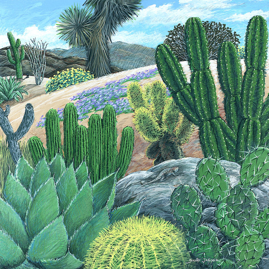 Cactus Painting - Cactus Garden by Snake Jagger