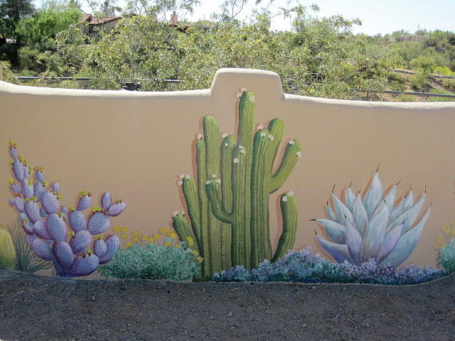 Cactus mural example by patty rebholz for Garden wall painting designs