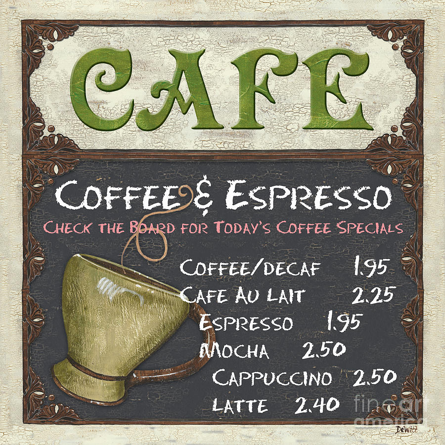 Cafe Chalkboard Painting  - Cafe Chalkboard Fine Art Print