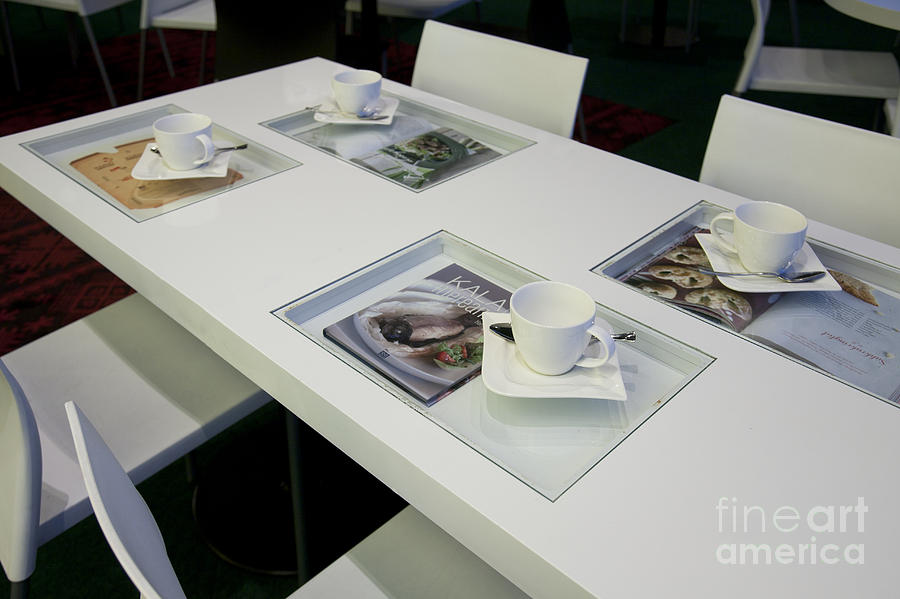 Cafe Table With Cookbooks Photograph  - Cafe Table With Cookbooks Fine Art Print