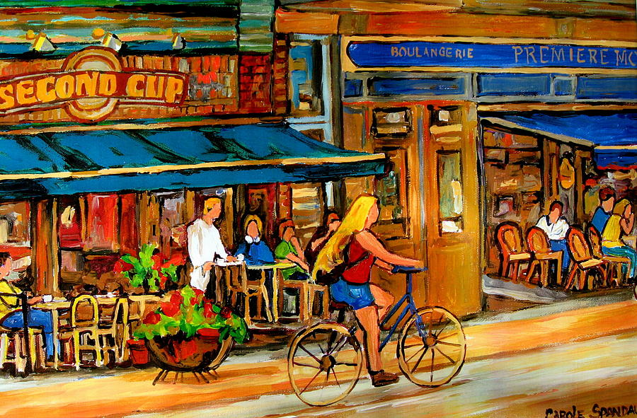 Cafes With Blue Awnings Painting  - Cafes With Blue Awnings Fine Art Print
