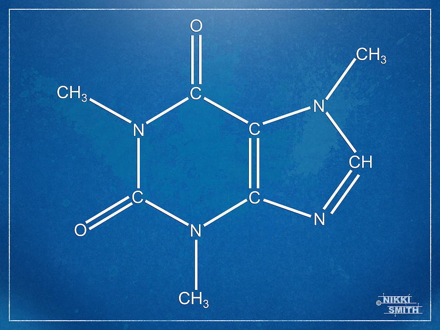Caffeine Molecular Structure Blueprint Digital Art