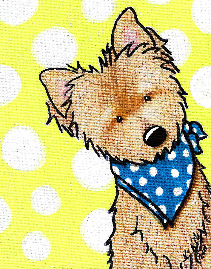Cairn Terrier On Dotted Yellow Painting  - Cairn Terrier On Dotted Yellow Fine Art Print