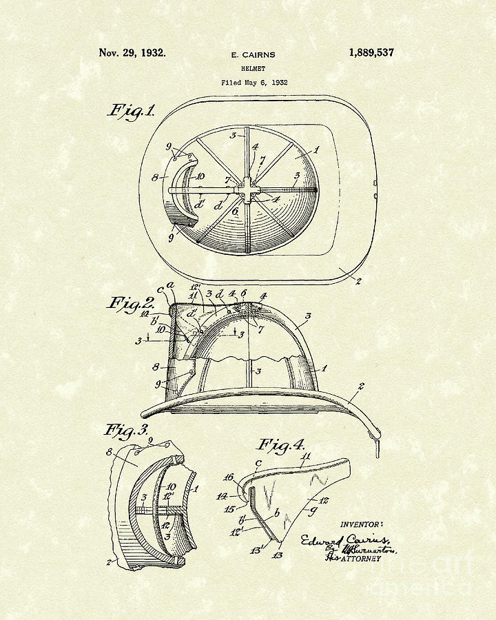 Cairns Helmet 1932 Patent Art Drawing  - Cairns Helmet 1932 Patent Art Fine Art Print