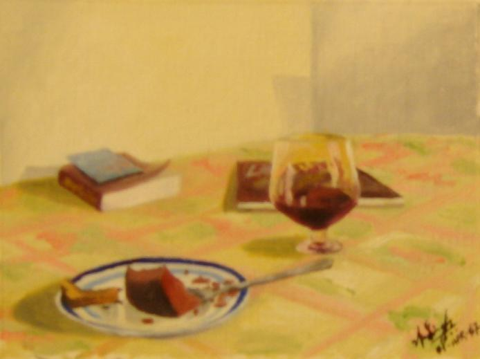Cake And Wine Painting