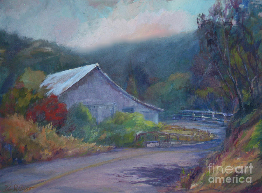 California Barn ... Around The Bend Painting  - California Barn ... Around The Bend Fine Art Print