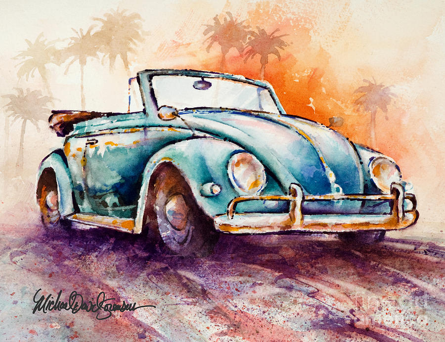California Convertible Painting  - California Convertible Fine Art Print