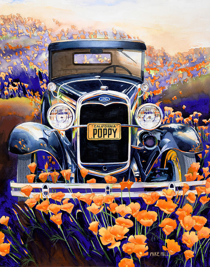 Model A Ford 1931 California Golden Poppy Poppies Fields Watercolor Purple Orange Car Auto Automobile Art Antique Classic Car Collector Car Poppy Ford Henry Ford Floral Flowers Wild Flowers License Plate Greens Black Painting - California Poppy by Mike Hill