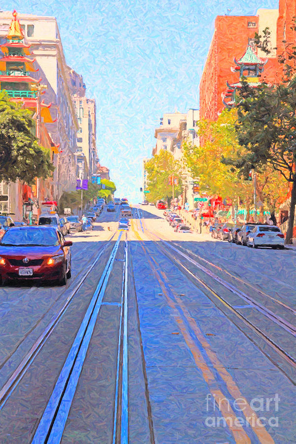 Sf Photograph - California Street In San Francisco Looking Up Towards Chinatown 2 by Wingsdomain Art and Photography