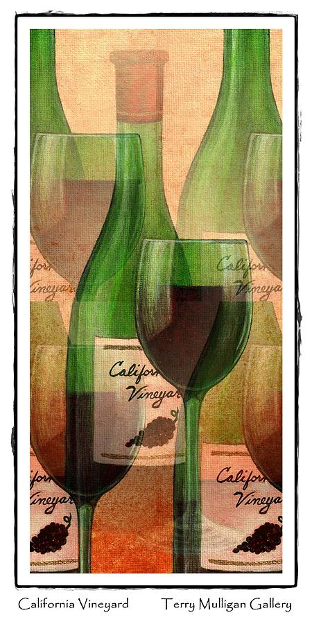 California Vineyard Wine Bottle And Glass Digital Art