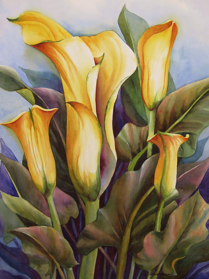 Calla Lilies Painting by Sue Zimmermann