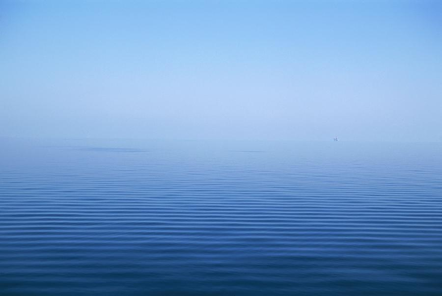 Calm Blue Water Disappearing Into Photograph  - Calm Blue Water Disappearing Into Fine Art Print