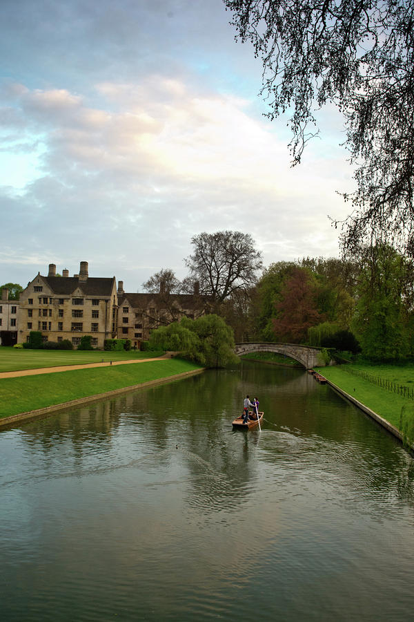 Cambridge Clare College Stream Boat And Boys Photograph  - Cambridge Clare College Stream Boat And Boys Fine Art Print