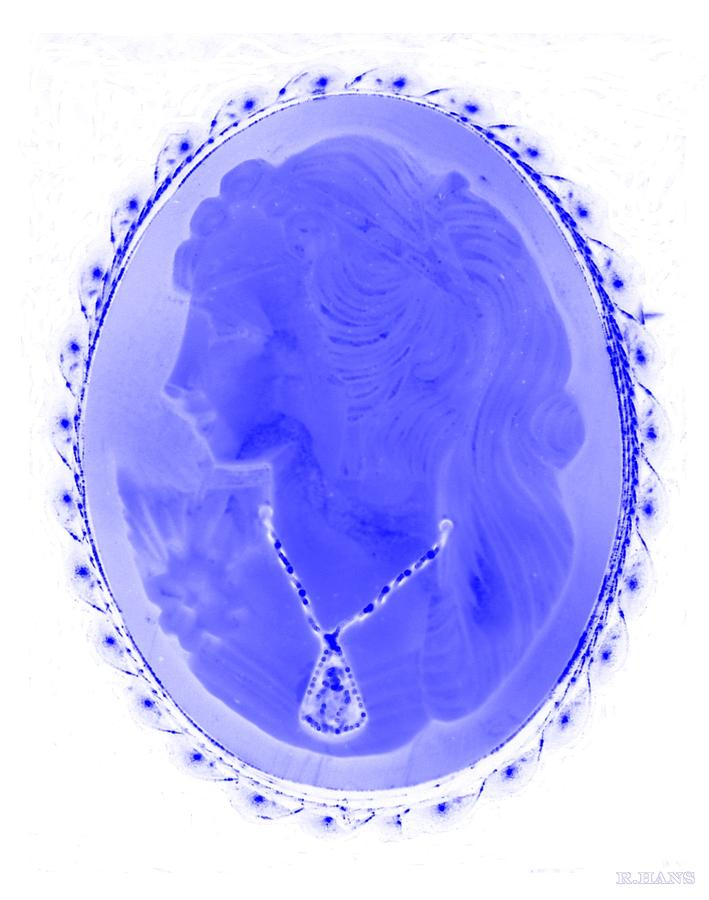 Cameo In Negative Blue Photograph