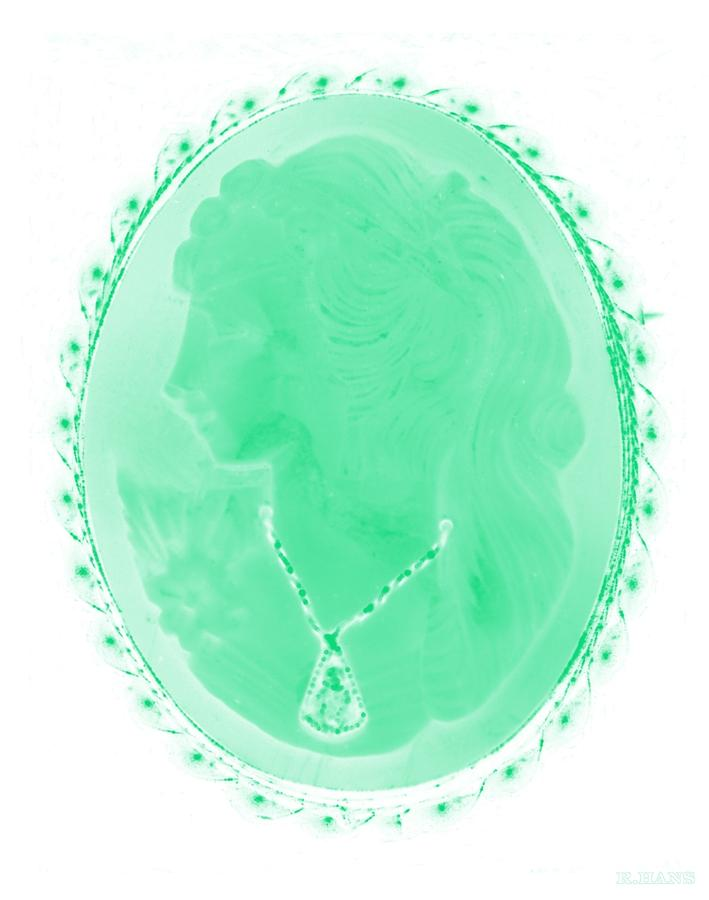 Cameo Photograph - Cameo In Negative Green by Rob Hans