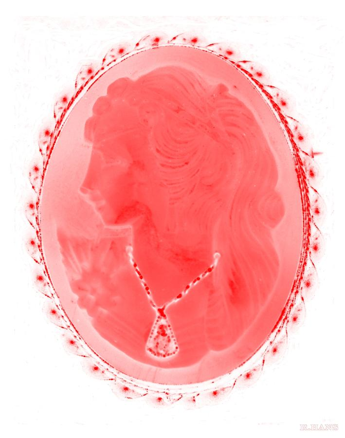 Cameo In Negative Red Photograph  - Cameo In Negative Red Fine Art Print