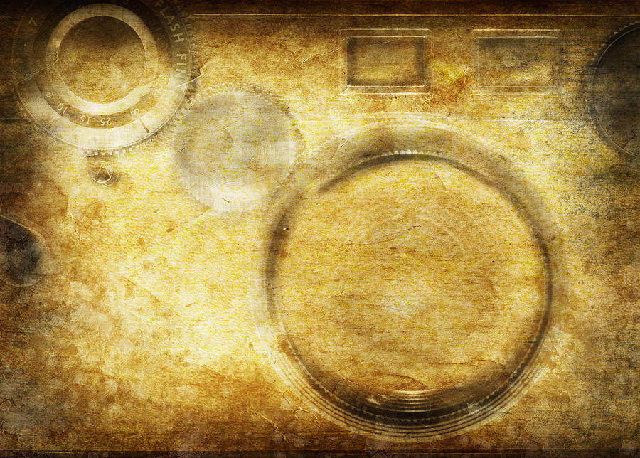 Camera Pattern On Old Grunge Paper Photograph