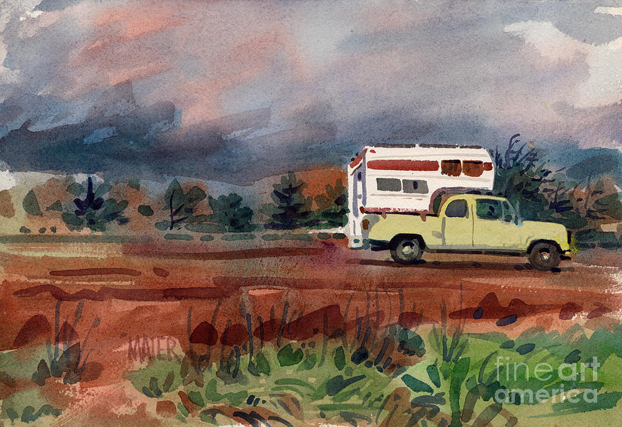 Camper On Pacific Coast Highway Painting