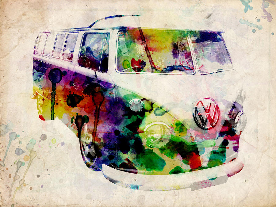 Camper Van Urban Art Digital Art  - Camper Van Urban Art Fine Art Print
