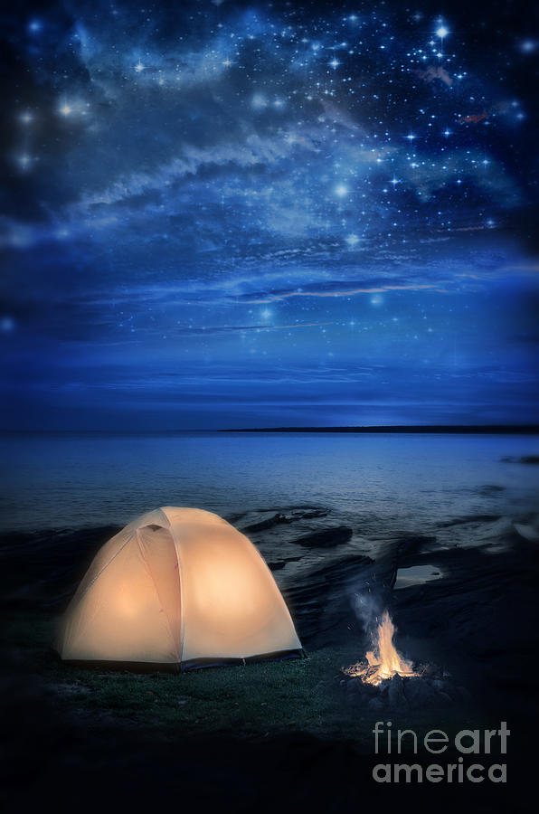 Camping Tent By The Lake At Night Photograph