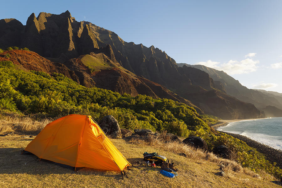 Campsite At Kalalau Mountains Photograph  - Campsite At Kalalau Mountains Fine Art Print