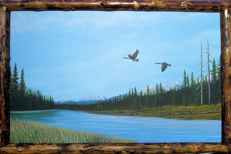 Wildlife Painting - Canadian Geese On The Kootenay by William Flexhaugh
