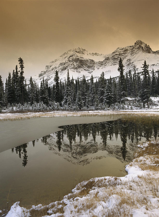 Canadian Rocky Mountains Dusted In Snow Photograph