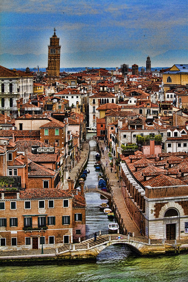 Canal And Bridges In Venice Italy Photograph