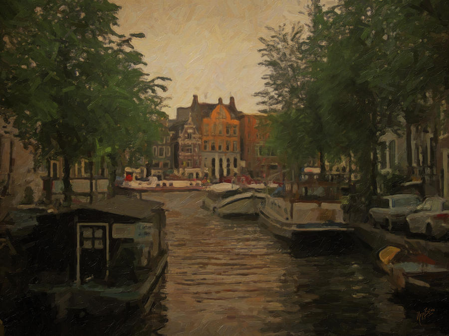 Canal In Amsterdam Painting