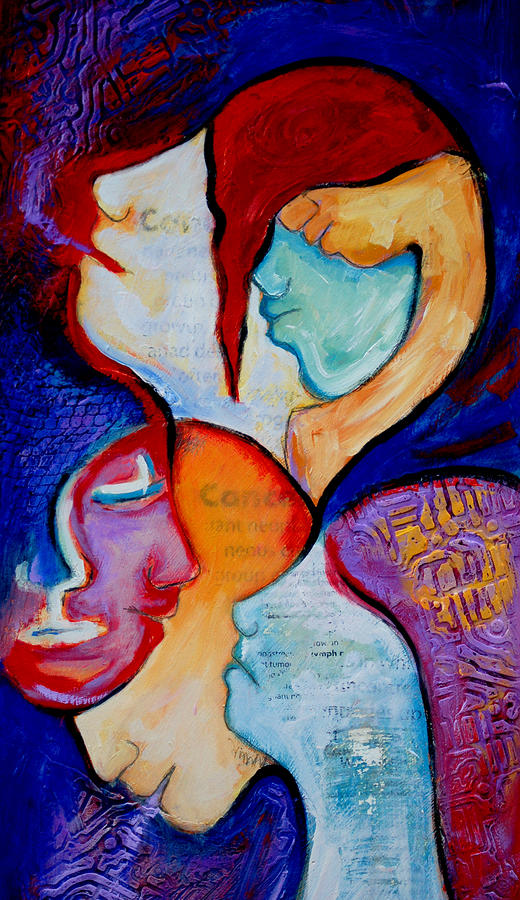 Cancer 7 Faces Of Grieving Painting  - Cancer 7 Faces Of Grieving Fine Art Print