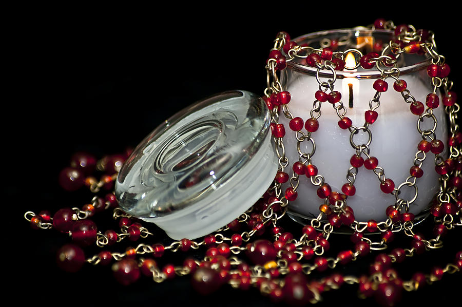 Candle And Beads Photograph