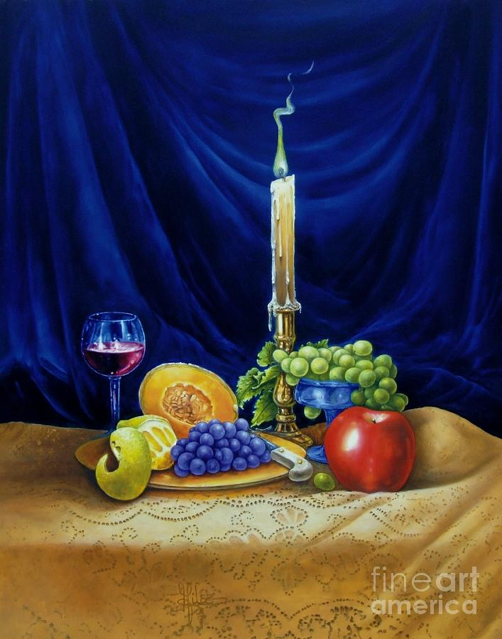 Candle light and wine painting by gilee barton for Candle painting medium