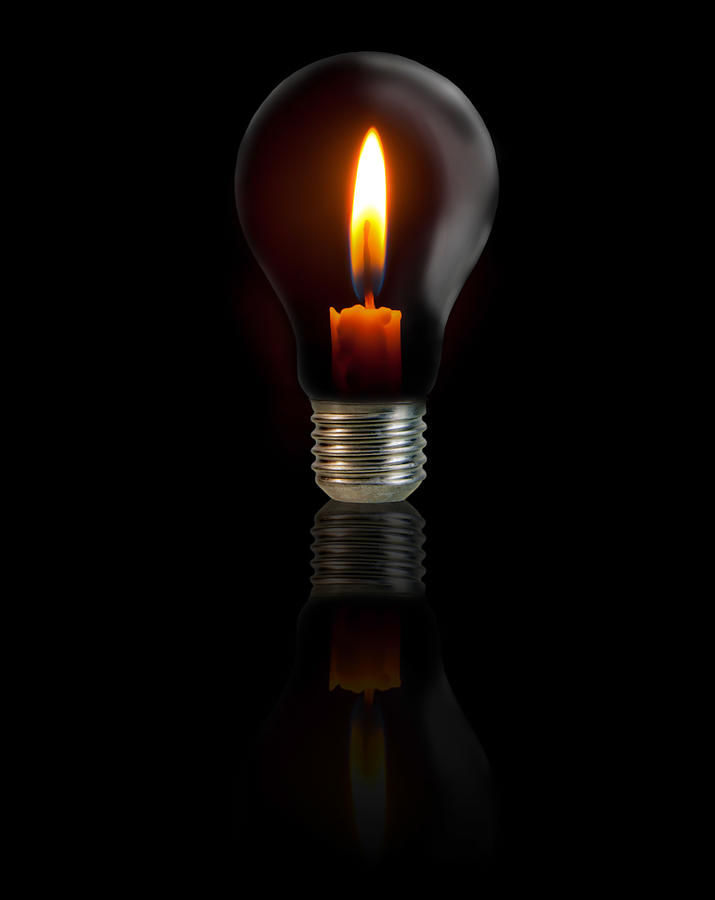 Candle On Light Bulb On Black Background Photograph By Thatchakon Hin Ngoen