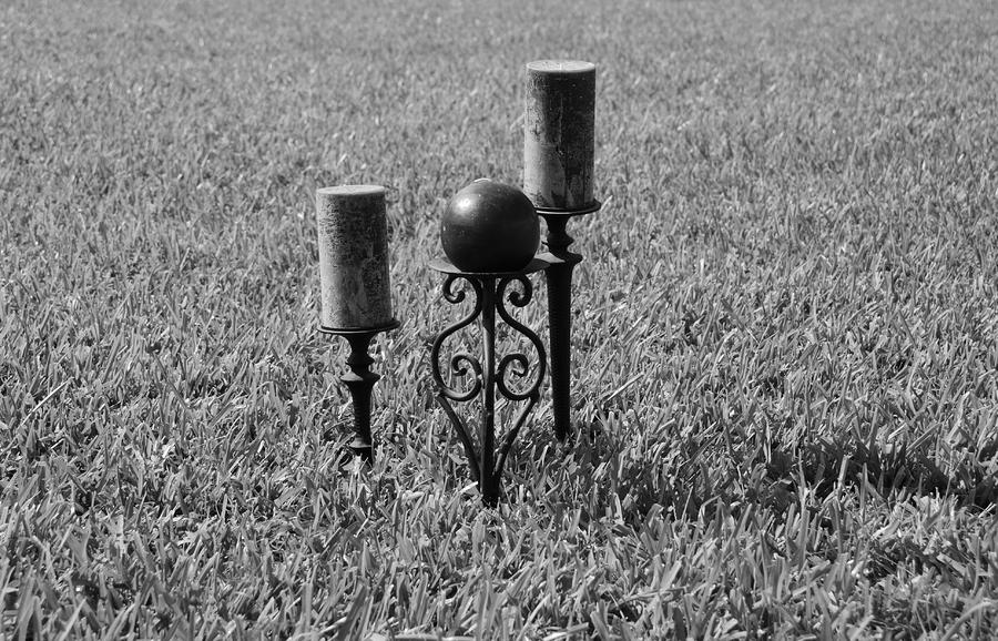 Candles In Grass Photograph