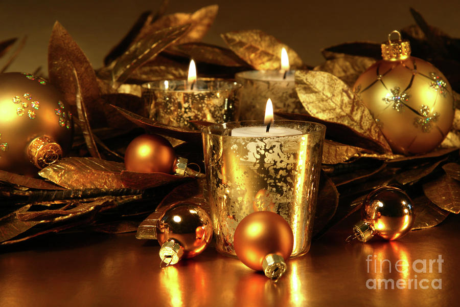 Candles Light In Sparkling Gold  Photograph