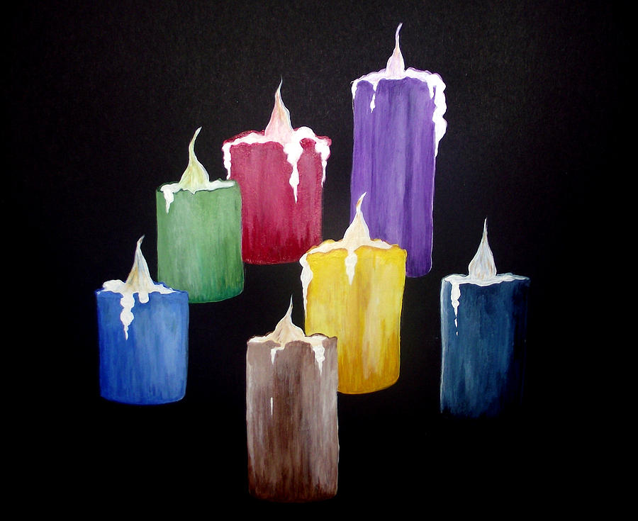 Candles painting by sandy wager for Candle painting medium