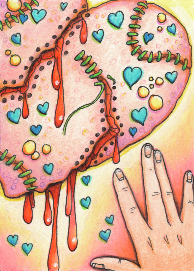 Candy Colored Heartache Drawing