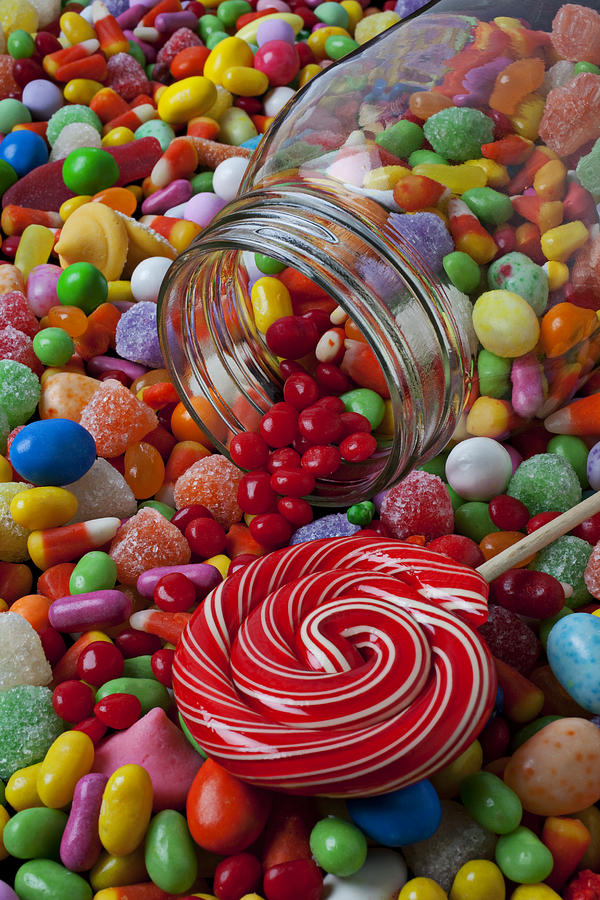 Candy Jar Spilling Candy Photograph