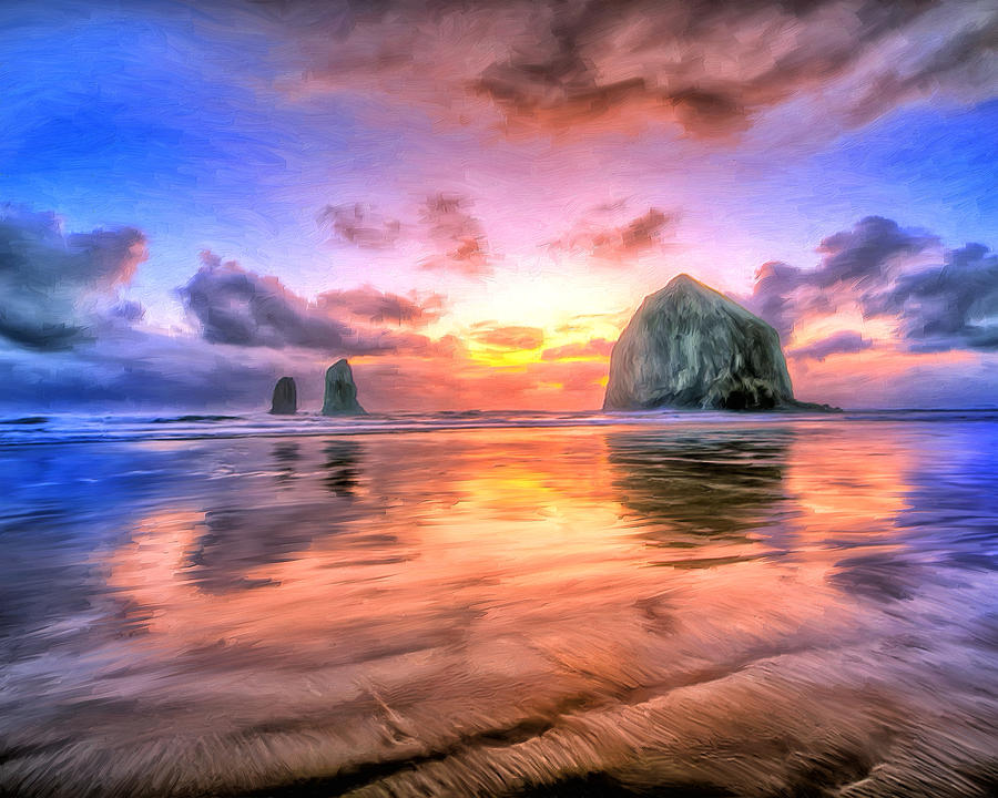 Cannon Beach Sunset Painting by Dominic Piperata