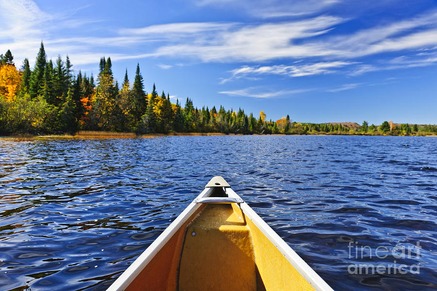 Canoe Bow On Lake Photograph  - Canoe Bow On Lake Fine Art Print