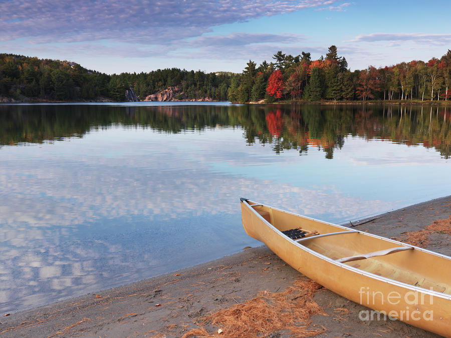 Canoe On A Shore Autumn Nature Scenery Photograph  - Canoe On A Shore Autumn Nature Scenery Fine Art Print