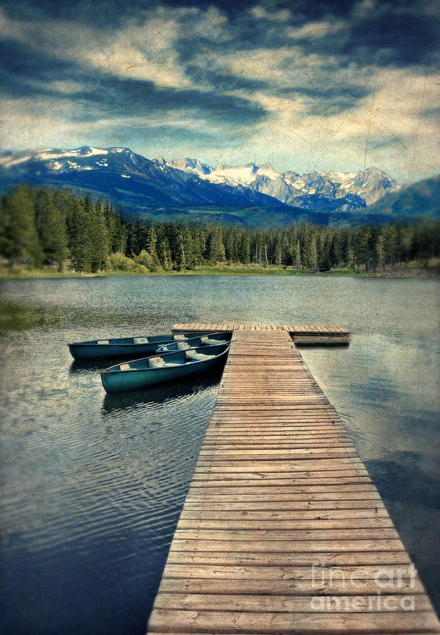 Canoes At Dock On Mountain Lake Photograph  - Canoes At Dock On Mountain Lake Fine Art Print
