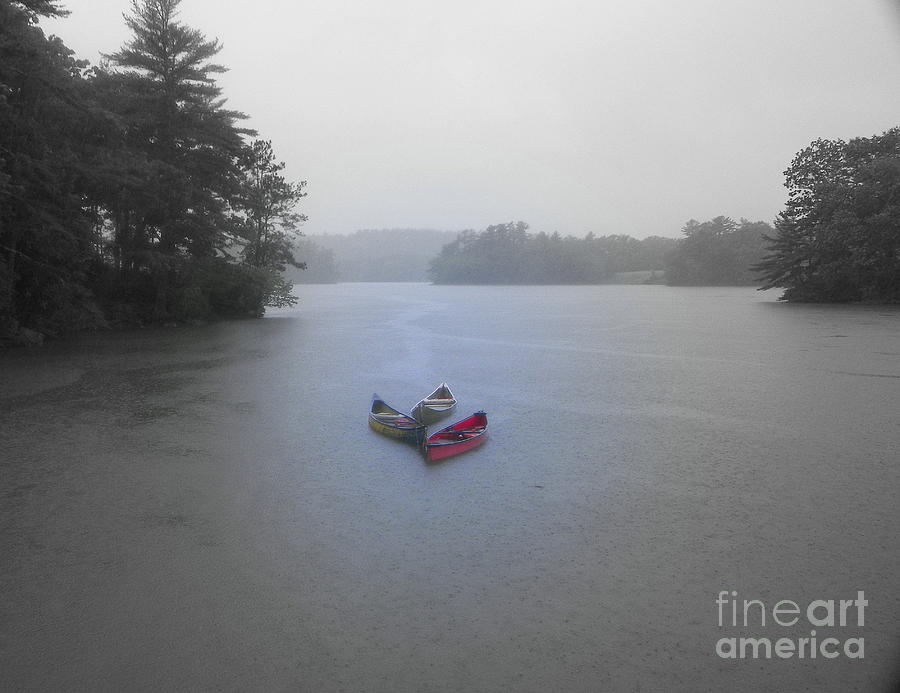 Canoes In The Rain Photograph  - Canoes In The Rain Fine Art Print