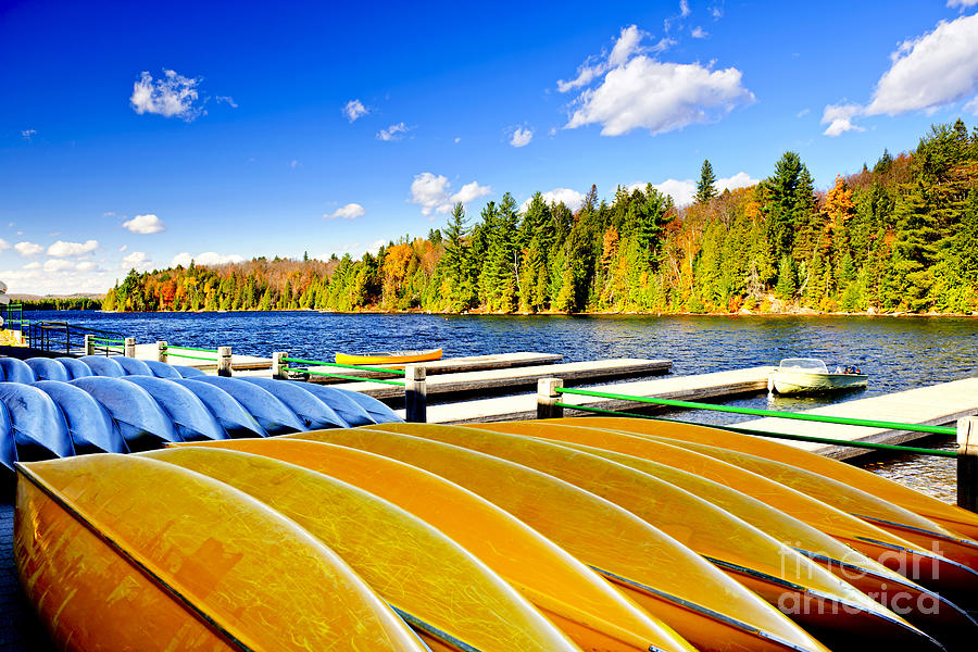 Canoes On Autumn Lake Photograph  - Canoes On Autumn Lake Fine Art Print